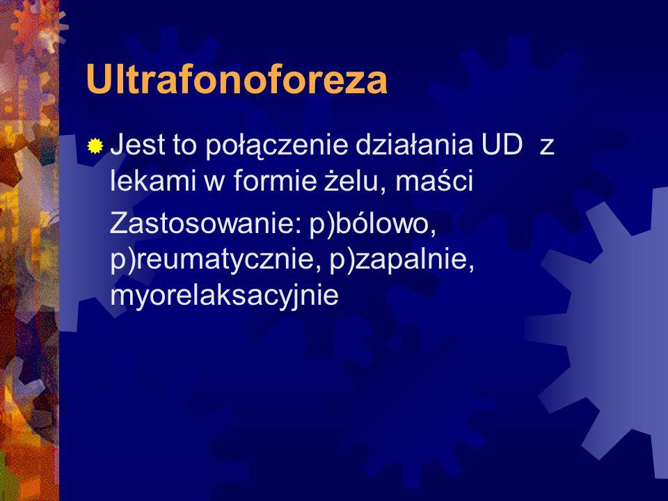 Ultrafonoforeza  Jest to połączenie działania UD z lekami w formie żelu, maści Zastosowanie: p)bólowo, p)reumatycznie, p)zapalnie, myorelaksacyjnie