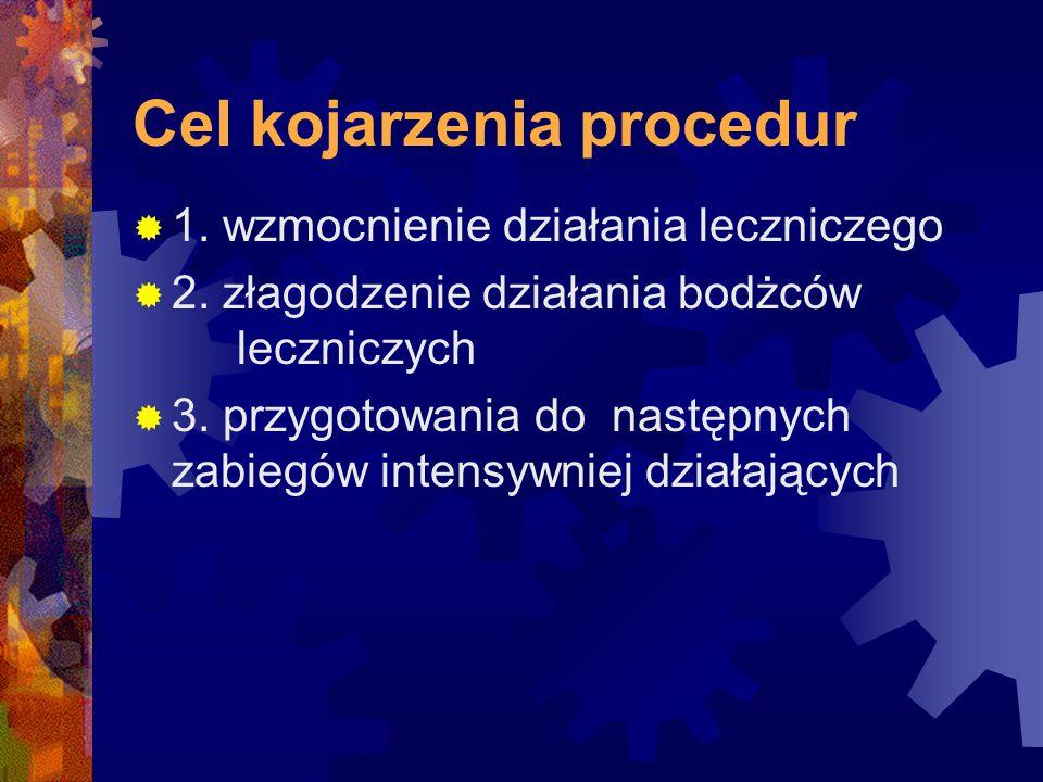 Cel kojarzenia procedur  1. wzmocnienie działania leczniczego  2. złagodzenie działania bodżców leczniczych  3. przygotowania do następnych zabiegó