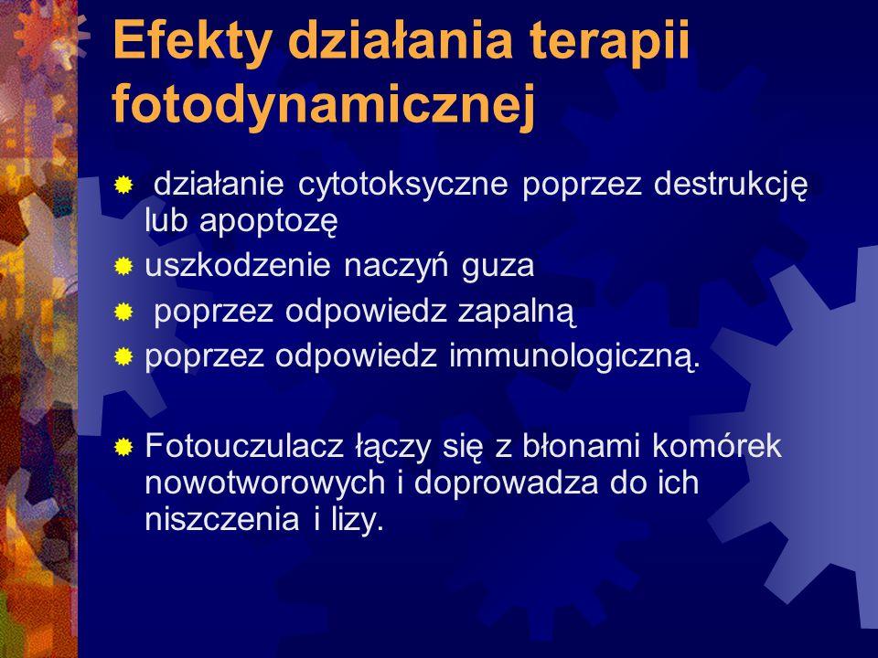 Efekty działania terapii fotodynamicznej  działanie cytotoksyczne poprzez destrukcję lub apoptozę  uszkodzenie naczyń guza  poprzez odpowiedz zapal