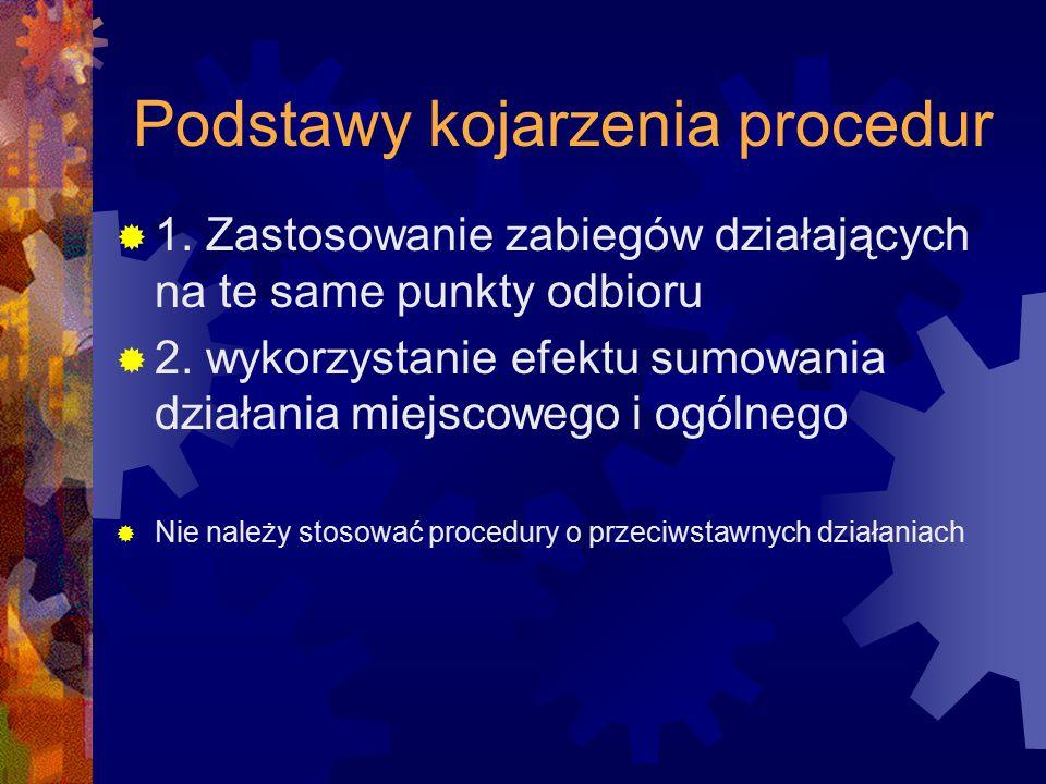 Podstawy kojarzenia procedur  1. Zastosowanie zabiegów działających na te same punkty odbioru  2. wykorzystanie efektu sumowania działania miejscowe