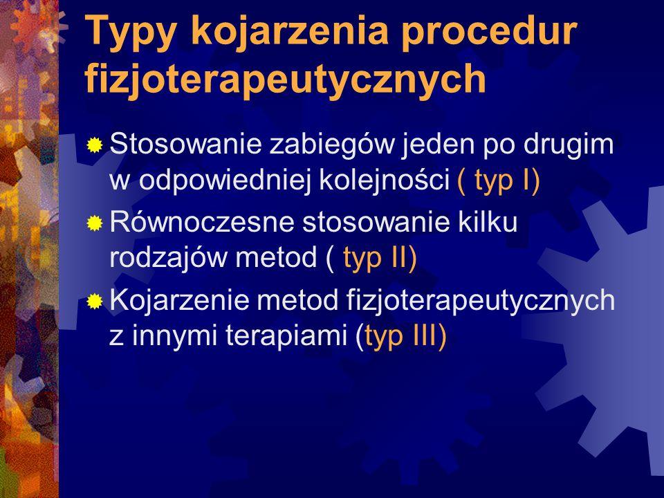 Typy kojarzenia procedur fizjoterapeutycznych  Stosowanie zabiegów jeden po drugim w odpowiedniej kolejności ( typ I)  Równoczesne stosowanie kilku