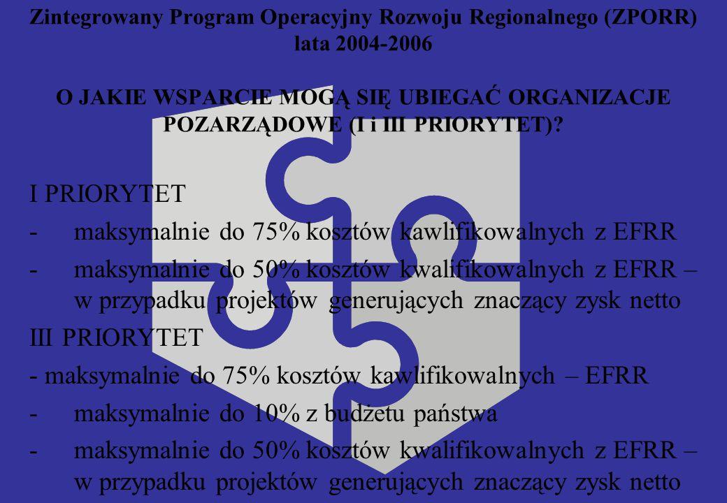 Zintegrowany Program Operacyjny Rozwoju Regionalnego (ZPORR) lata 2004-2006 O JAKIE WSPARCIE MOGĄ SIĘ UBIEGAĆ ORGANIZACJE POZARZĄDOWE (I i III PRIORYTET).