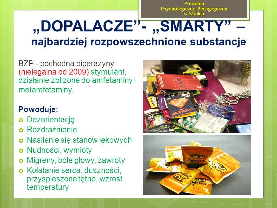 """""""DOPALACZE""""- """"SMARTY"""" – najbardziej rozpowszechnione substancje BZP - pochodna piperazyny (nielegalna od 2009) stymulant, działanie zbliżone do amfeta"""