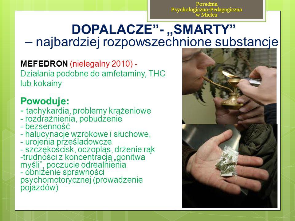 MEFEDRON (nielegalny 2010) - Działania podobne do amfetaminy, THC lub kokainy Powoduje: - tachykardia, problemy krążeniowe - rozdrażnienia, pobudzenie