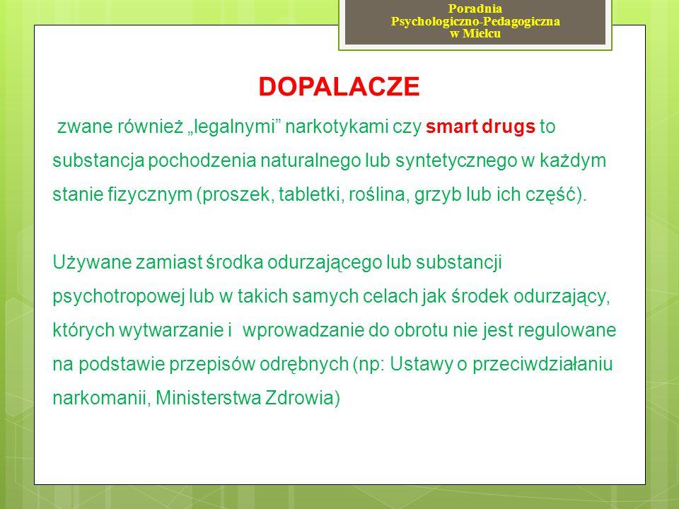 """""""DOPALACZE - """"SMARTY – najbardziej rozpowszechnione substancje BZP - pochodna piperazyny (nielegalna od 2009) stymulant, działanie zbliżone do amfetaminy i metamfetaminy."""
