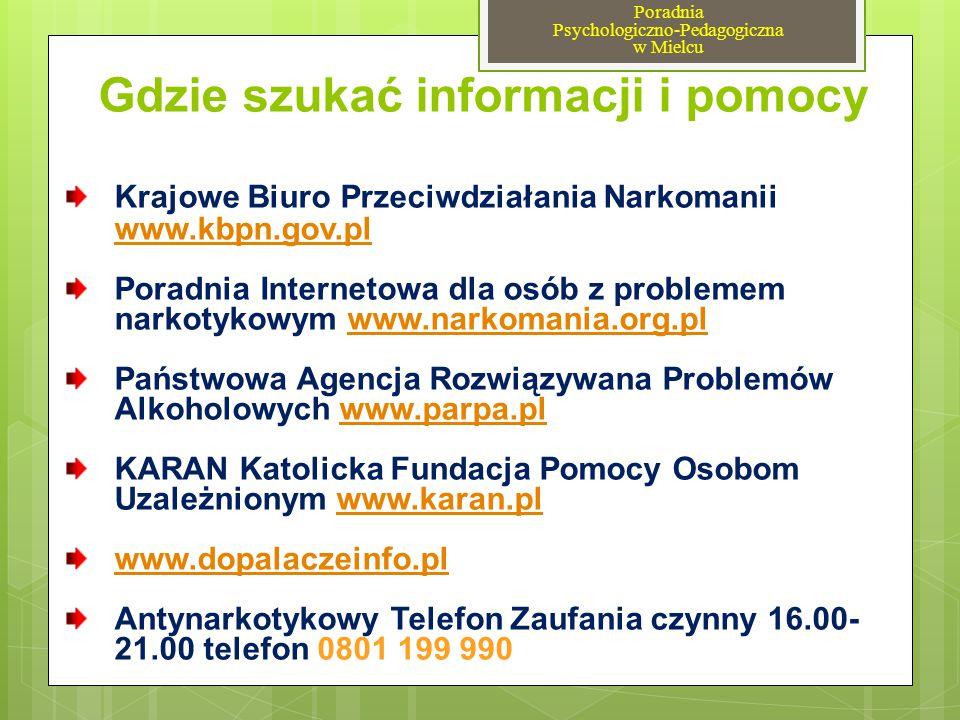Gdzie szukać informacji i pomocy Krajowe Biuro Przeciwdziałania Narkomanii www.kbpn.gov.pl www.kbpn.gov.pl Poradnia Internetowa dla osób z problemem n