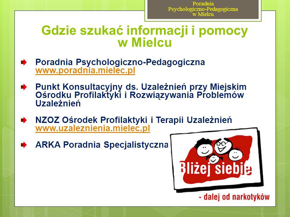Gdzie szukać informacji i pomocy w Mielcu Poradnia Psychologiczno-Pedagogiczna www.poradnia.mielec.pl www.poradnia.mielec.pl Punkt Konsultacyjny ds. U