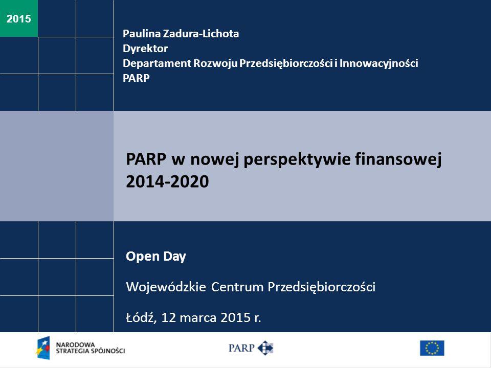 2015 Paulina Zadura-Lichota Dyrektor Departament Rozwoju Przedsiębiorczości i Innowacyjności PARP PARP w nowej perspektywie finansowej 2014-2020 Open