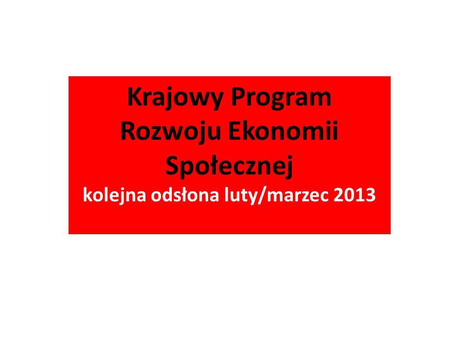 Krajowy Program Rozwoju Ekonomii Społecznej kolejna odsłona luty/marzec 2013