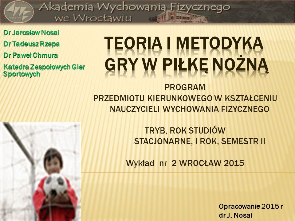 PROGRAM PRZEDMIOTU KIERUNKOWEGO W KSZTAŁCENIU NAUCZYCIELI WYCHOWANIA FIZYCZNEGO TRYB, ROK STUDIÓW STACJONARNE, I ROK, SEMESTR II Wykład nr 2 WROCŁAW 2015 Dr Jarosław Nosal Dr Tadeusz Rzepa Dr Paweł Chmura Katedra Zespołowych Gier Sportowych Opracowanie 2015 r dr J.