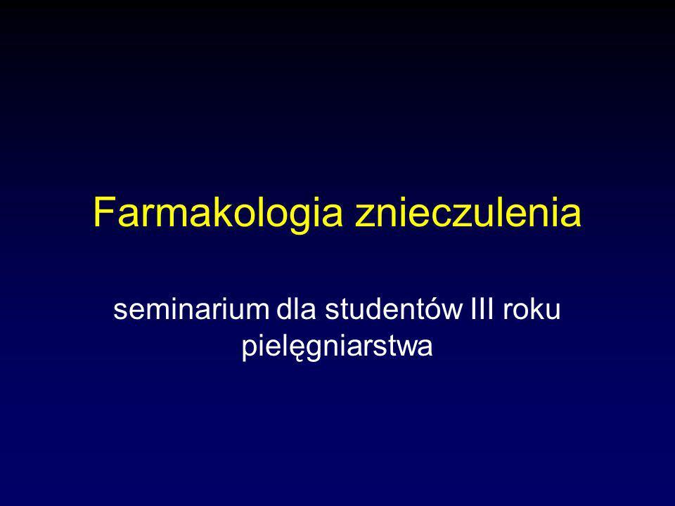 Farmakologia znieczulenia seminarium dla studentów III roku pielęgniarstwa