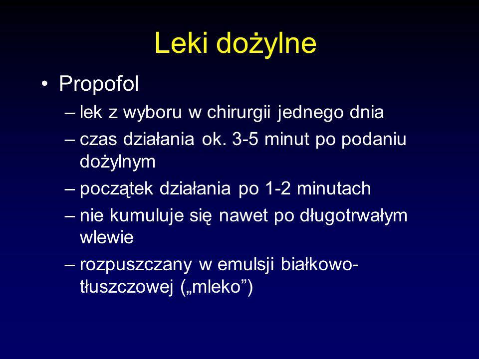 Leki dożylne Propofol –lek z wyboru w chirurgii jednego dnia –czas działania ok.