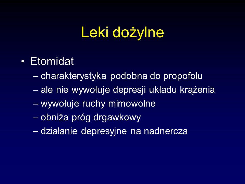 Leki dożylne Etomidat –charakterystyka podobna do propofolu –ale nie wywołuje depresji układu krążenia –wywołuje ruchy mimowolne –obniża próg drgawkowy –działanie depresyjne na nadnercza