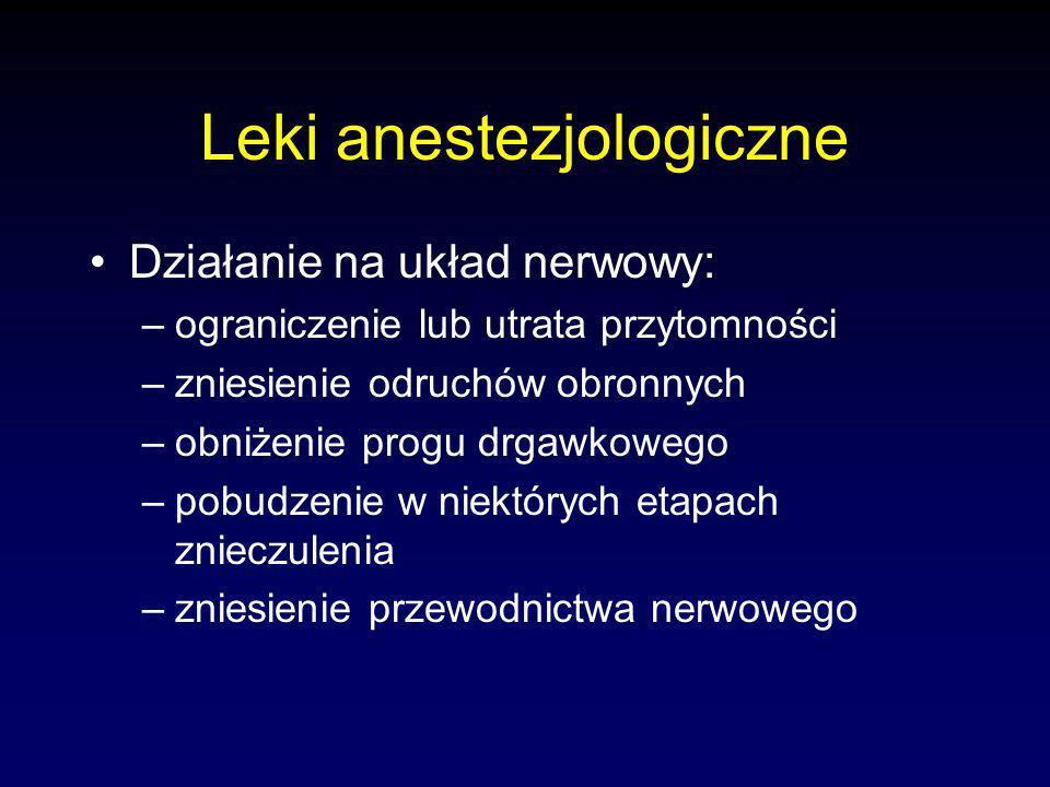 Leki anestezjologiczne Działanie na układ nerwowy: –ograniczenie lub utrata przytomności –zniesienie odruchów obronnych –obniżenie progu drgawkowego –pobudzenie w niektórych etapach znieczulenia –zniesienie przewodnictwa nerwowego