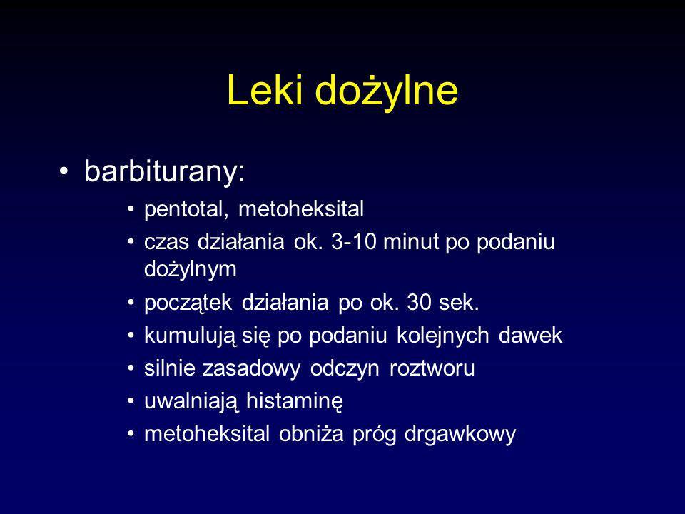 Leki dożylne barbiturany: pentotal, metoheksital czas działania ok.