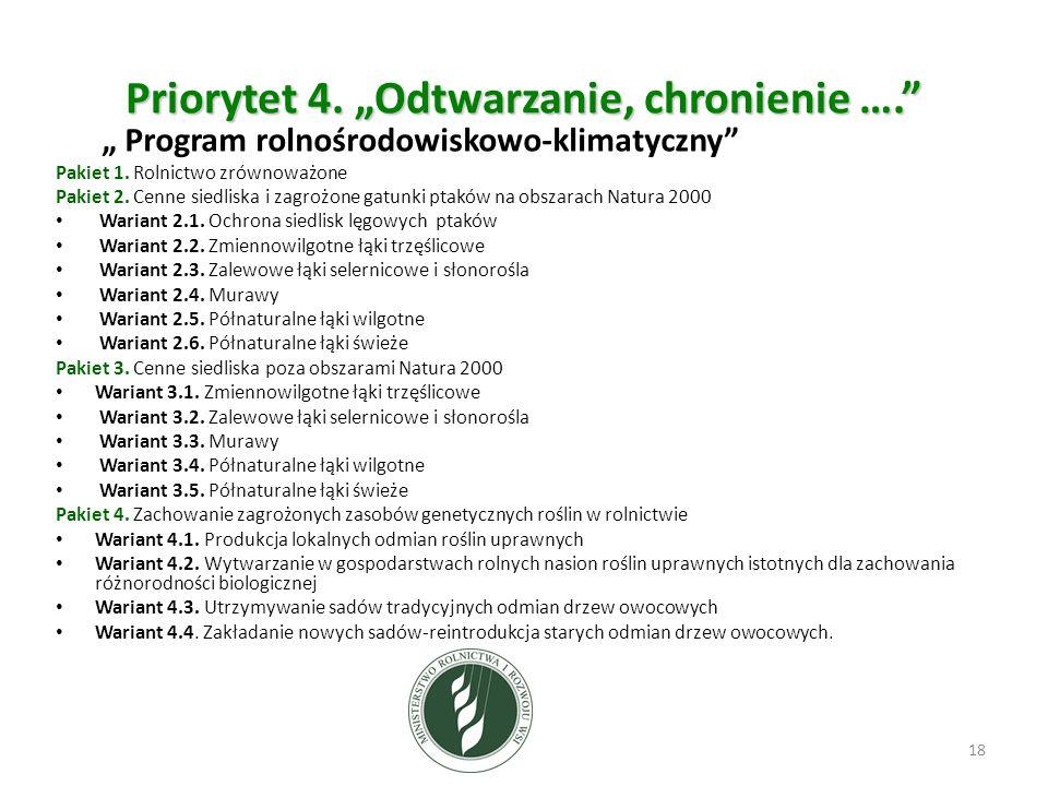 """Priorytet 4. """"Odtwarzanie, chronienie …. """" Program rolnośrodowiskowo-klimatyczny Pakiet 1."""