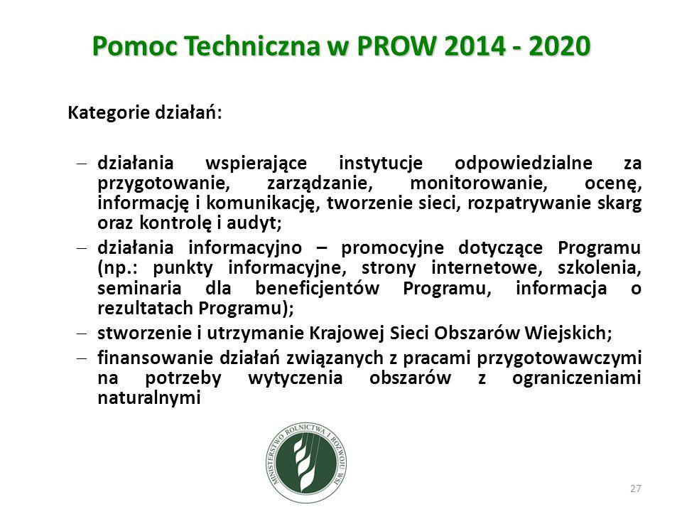 Pomoc Techniczna w PROW 2014 - 2020 Kategorie działań:  działania wspierające instytucje odpowiedzialne za przygotowanie, zarządzanie, monitorowanie, ocenę, informację i komunikację, tworzenie sieci, rozpatrywanie skarg oraz kontrolę i audyt;  działania informacyjno – promocyjne dotyczące Programu (np.: punkty informacyjne, strony internetowe, szkolenia, seminaria dla beneficjentów Programu, informacja o rezultatach Programu);  stworzenie i utrzymanie Krajowej Sieci Obszarów Wiejskich;  finansowanie działań związanych z pracami przygotowawczymi na potrzeby wytyczenia obszarów z ograniczeniami naturalnymi 27