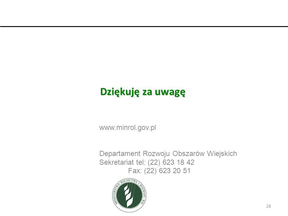 Dziękuję za uwagę www.minrol.gov.pl Departament Rozwoju Obszarów Wiejskich Sekretariat tel: (22) 623 18 42 Fax: (22) 623 20 51 28