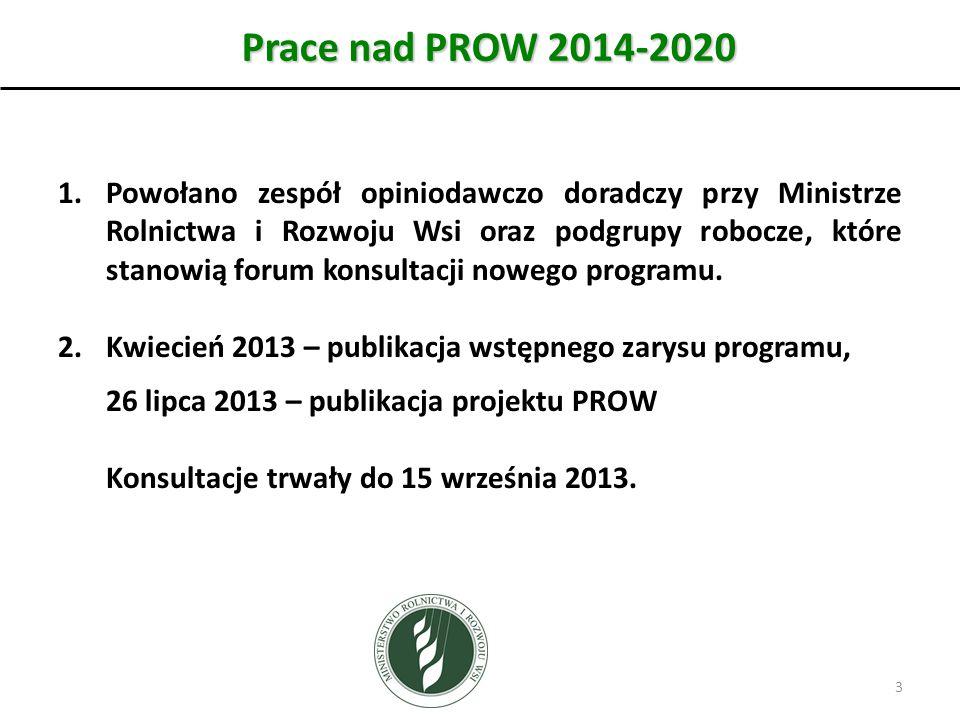 Prace nad PROW 2014-2020 1.Powołano zespół opiniodawczo doradczy przy Ministrze Rolnictwa i Rozwoju Wsi oraz podgrupy robocze, które stanowią forum konsultacji nowego programu.