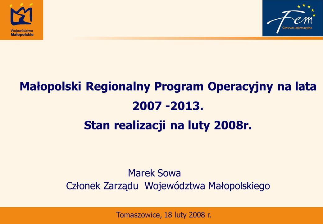 Małopolski Regionalny Program Operacyjny na lata 2007 -2013.