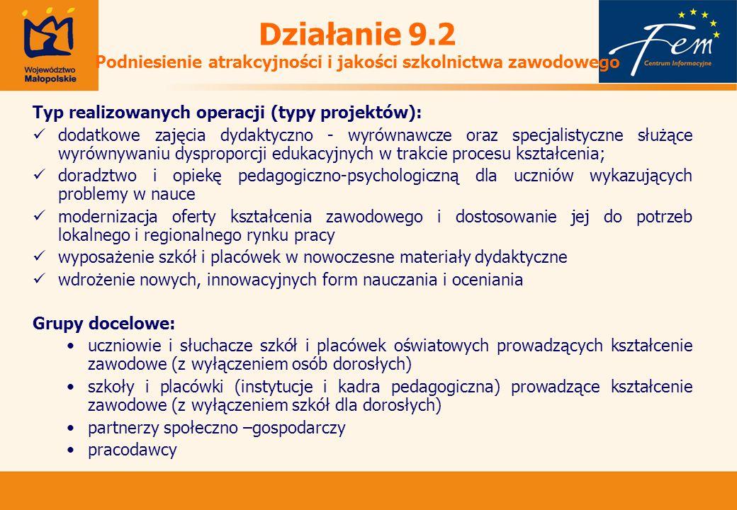 Działanie 9.2 Podniesienie atrakcyjności i jakości szkolnictwa zawodowego Typ realizowanych operacji (typy projektów): dodatkowe zajęcia dydaktyczno - wyrównawcze oraz specjalistyczne służące wyrównywaniu dysproporcji edukacyjnych w trakcie procesu kształcenia; doradztwo i opiekę pedagogiczno-psychologiczną dla uczniów wykazujących problemy w nauce modernizacja oferty kształcenia zawodowego i dostosowanie jej do potrzeb lokalnego i regionalnego rynku pracy wyposażenie szkół i placówek w nowoczesne materiały dydaktyczne wdrożenie nowych, innowacyjnych form nauczania i oceniania Grupy docelowe: uczniowie i słuchacze szkół i placówek oświatowych prowadzących kształcenie zawodowe (z wyłączeniem osób dorosłych) szkoły i placówki (instytucje i kadra pedagogiczna) prowadzące kształcenie zawodowe (z wyłączeniem szkół dla dorosłych) partnerzy społeczno –gospodarczy pracodawcy