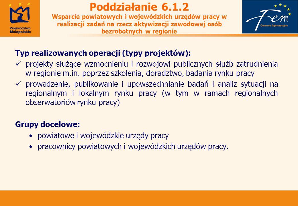 Poddziałanie 6.1.2 Wsparcie powiatowych i wojewódzkich urzędów pracy w realizacji zadań na rzecz aktywizacji zawodowej osób bezrobotnych w regionie Typ realizowanych operacji (typy projektów): projekty służące wzmocnieniu i rozwojowi publicznych służb zatrudnienia w regionie m.in.