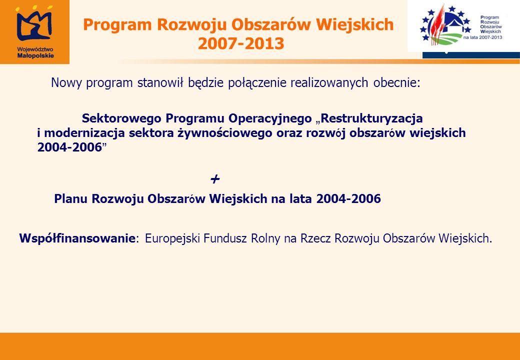 """Program Rozwoju Obszarów Wiejskich 2007-2013 Nowy program stanowił będzie połączenie realizowanych obecnie: Sektorowego Programu Operacyjnego """" Restrukturyzacja i modernizacja sektora żywnościowego oraz rozw ó j obszar ó w wiejskich 2004-2006 + Planu Rozwoju Obszar ó w Wiejskich na lata 2004-2006 Współfinansowanie: Europejski Fundusz Rolny na Rzecz Rozwoju Obszarów Wiejskich."""