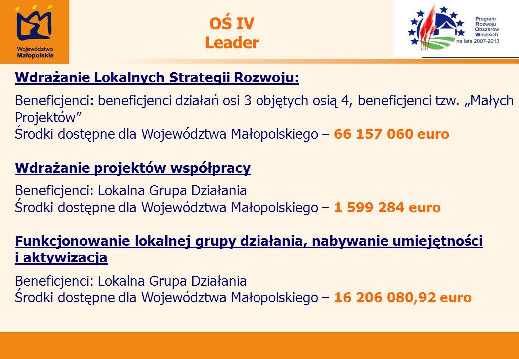 OŚ IV Leader Wdrażanie Lokalnych Strategii Rozwoju: Beneficjenci: beneficjenci działań osi 3 objętych osią 4, beneficjenci tzw.