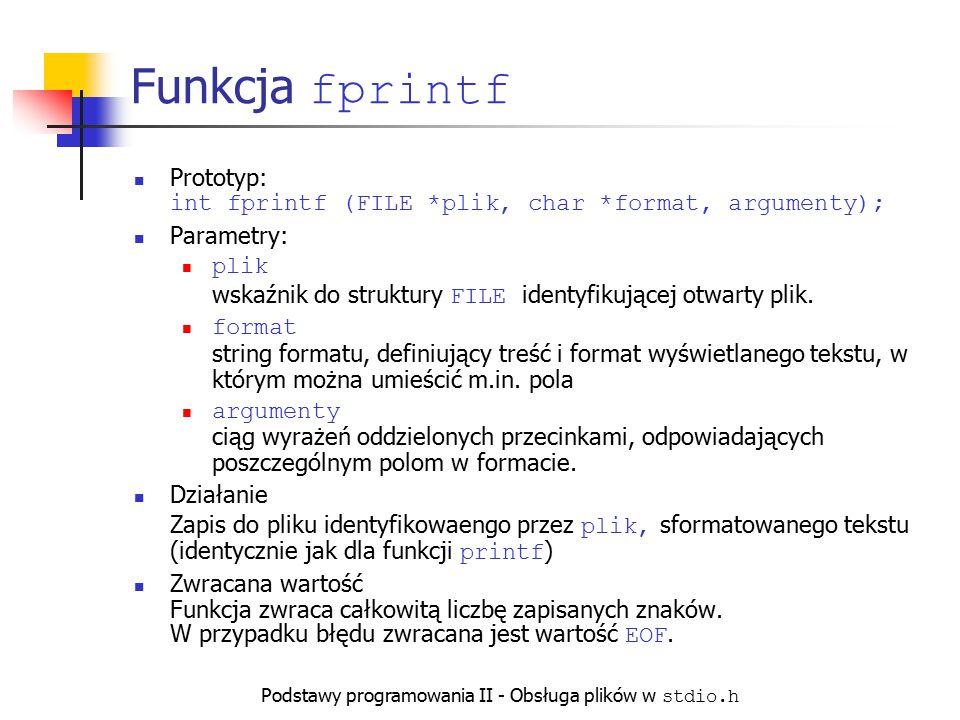 Podstawy programowania II - Obsługa plików w stdio.h Funkcja fprintf Prototyp: int fprintf (FILE *plik, char *format, argumenty); Parametry: plik wska