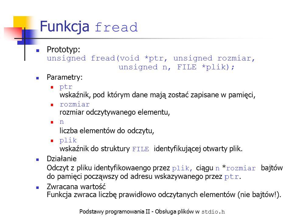 Podstawy programowania II - Obsługa plików w stdio.h Funkcja fread Prototyp: unsigned fread(void *ptr, unsigned rozmiar, unsigned n, FILE *plik); Para