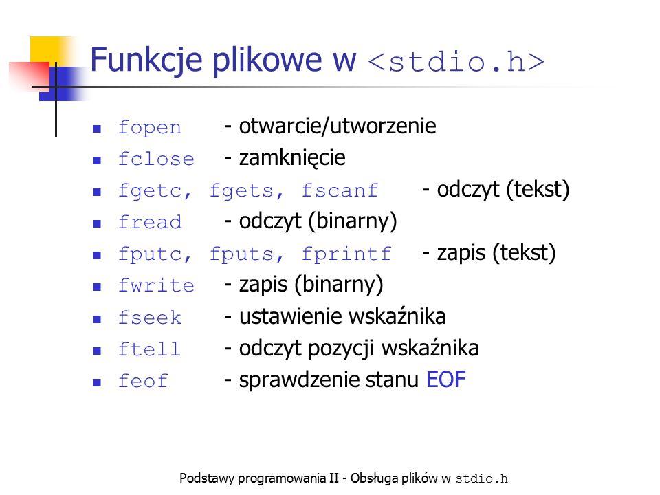 Podstawy programowania II - Obsługa plików w stdio.h Funkcje plikowe w fopen - otwarcie/utworzenie fclose - zamknięcie fgetc, fgets, fscanf - odczyt (