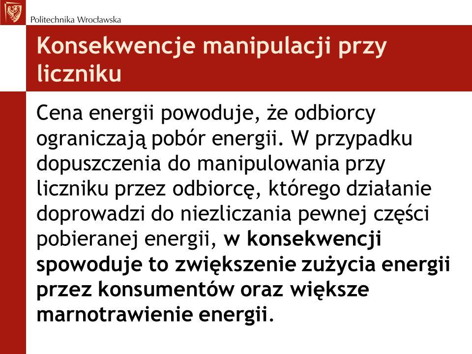 Konsekwencje manipulacji przy liczniku Cena energii powoduje, że odbiorcy ograniczają pobór energii. W przypadku dopuszczenia do manipulowania przy li