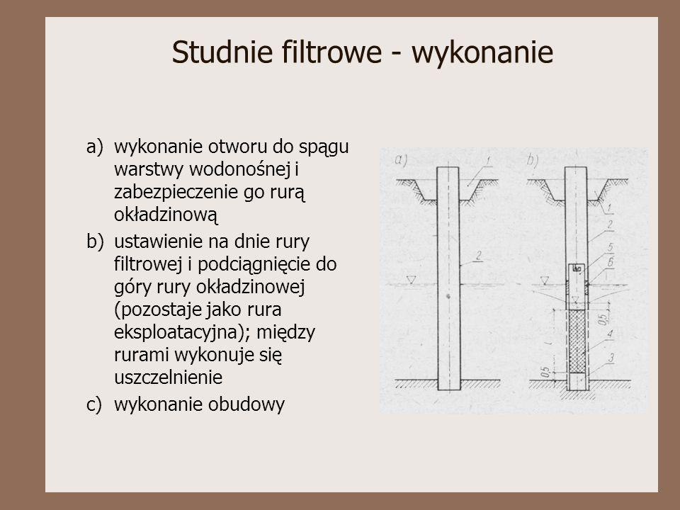 Studnie filtrowe - wykonanie a)wykonanie otworu do spągu warstwy wodonośnej i zabezpieczenie go rurą okładzinową b)ustawienie na dnie rury filtrowej i