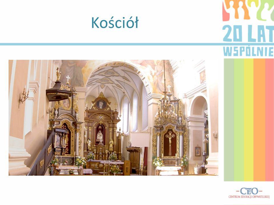 Kościół zbudowany jest z cegły i kamienia.