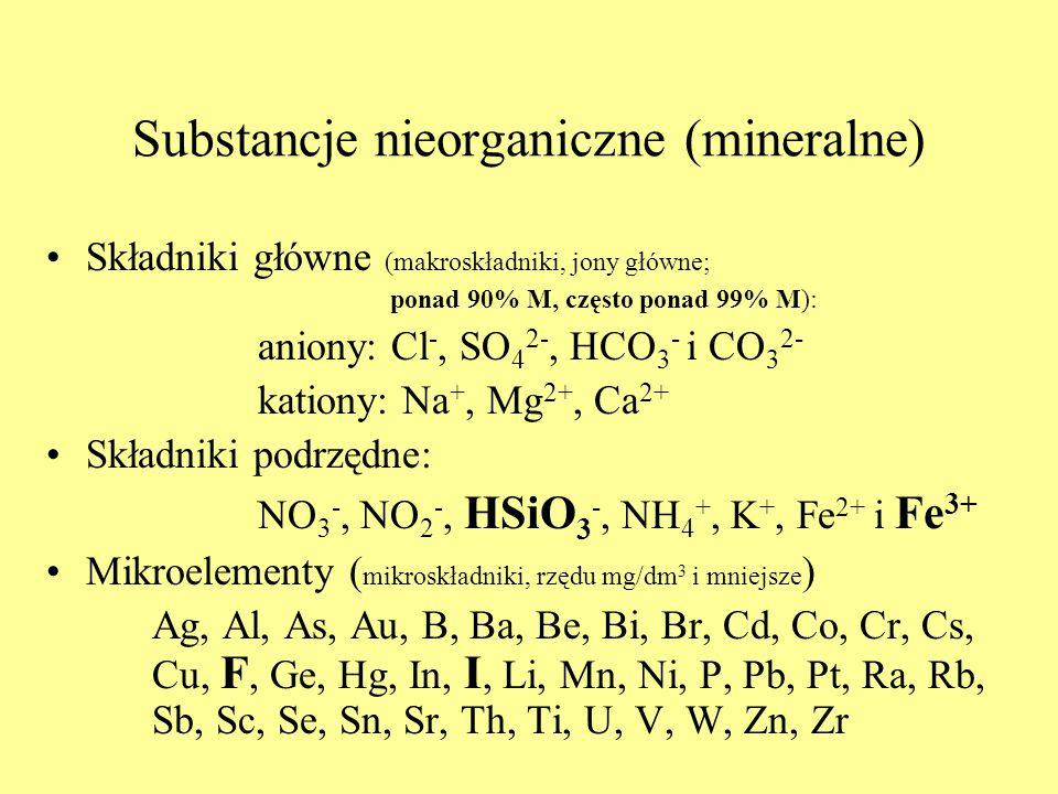 Substancje nieorganiczne (mineralne) Składniki główne (makroskładniki, jony główne; ponad 90% M, często ponad 99% M): aniony: Cl -, SO 4 2-, HCO 3 - i