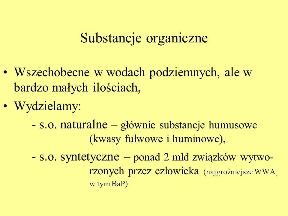 Substancje organiczne Wszechobecne w wodach podziemnych, ale w bardzo małych ilościach, Wydzielamy: - s.o. naturalne – głównie substancje humusowe (kw