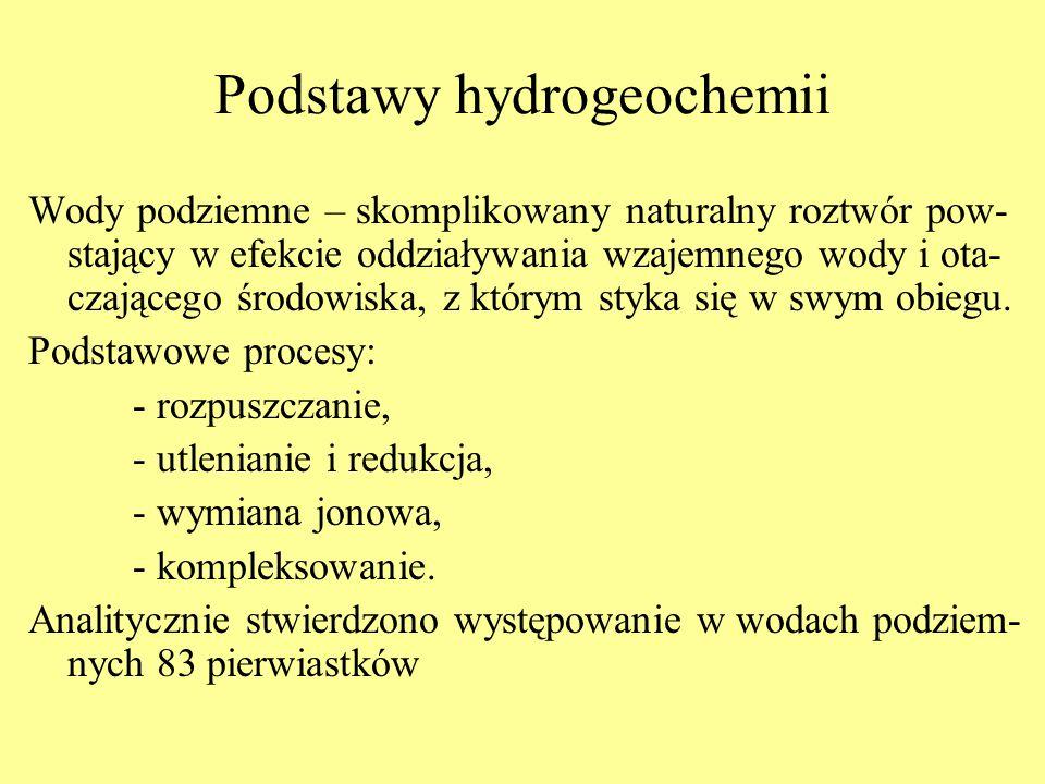 Podstawy hydrogeochemii Wody podziemne – skomplikowany naturalny roztwór pow- stający w efekcie oddziaływania wzajemnego wody i ota- czającego środowi