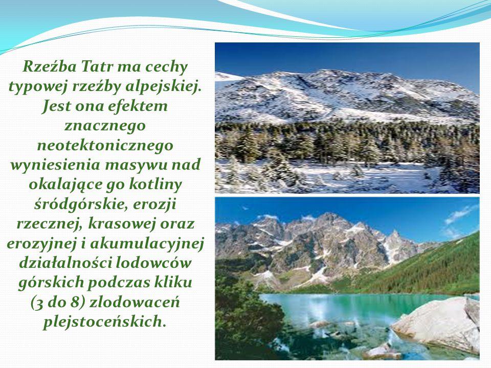 Rzeźba Tatr ma cechy typowej rzeźby alpejskiej. Jest ona efektem znacznego neotektonicznego wyniesienia masywu nad okalające go kotliny śródgórskie, e