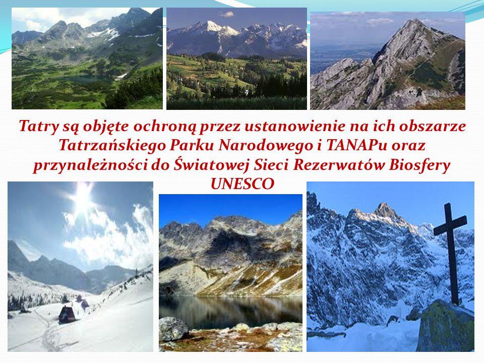 Tatry są objęte ochroną przez ustanowienie na ich obszarze Tatrzańskiego Parku Narodowego i TANAPu oraz przynależności do Światowej Sieci Rezerwatów B