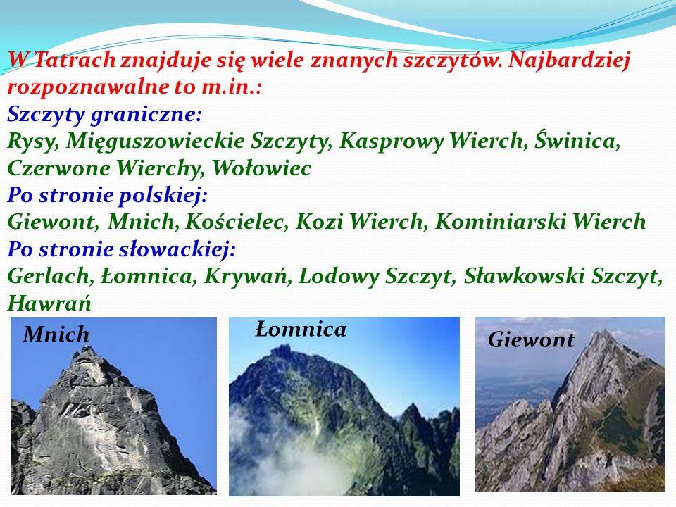 W Tatrach znajduje się wiele znanych szczytów. Najbardziej rozpoznawalne to m.in.: Szczyty graniczne: Rysy, Mięguszowieckie Szczyty, Kasprowy Wierch,