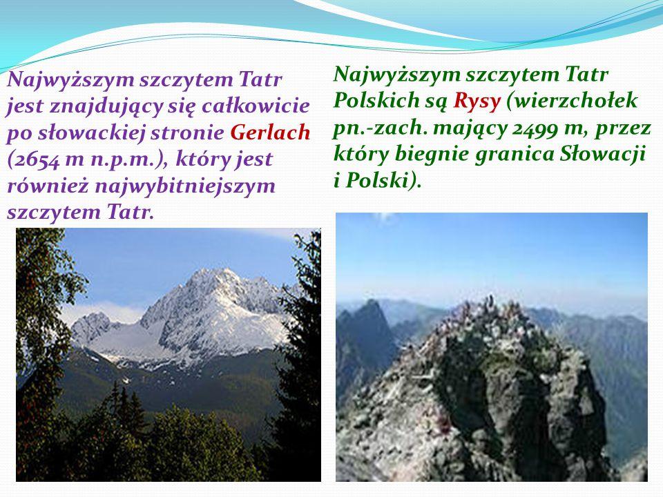 Najwyższym szczytem Tatr jest znajdujący się całkowicie po słowackiej stronie Gerlach (2654 m n.p.m.), który jest również najwybitniejszym szczytem Ta