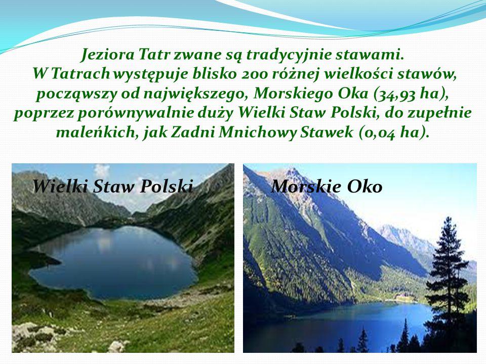 Jeziora Tatr zwane są tradycyjnie stawami. W Tatrach występuje blisko 200 różnej wielkości stawów, począwszy od największego, Morskiego Oka (34,93 ha)