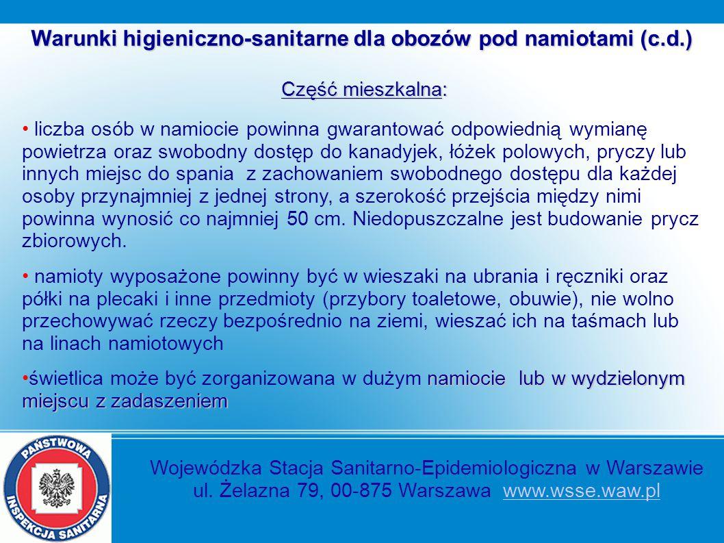 Wojewódzka Stacja Sanitarno-Epidemiologiczna w Warszawie ul. Żelazna 79, 00-875 Warszawa www.wsse.waw.plwww.wsse.waw.pl Warunki higieniczno-sanitarne