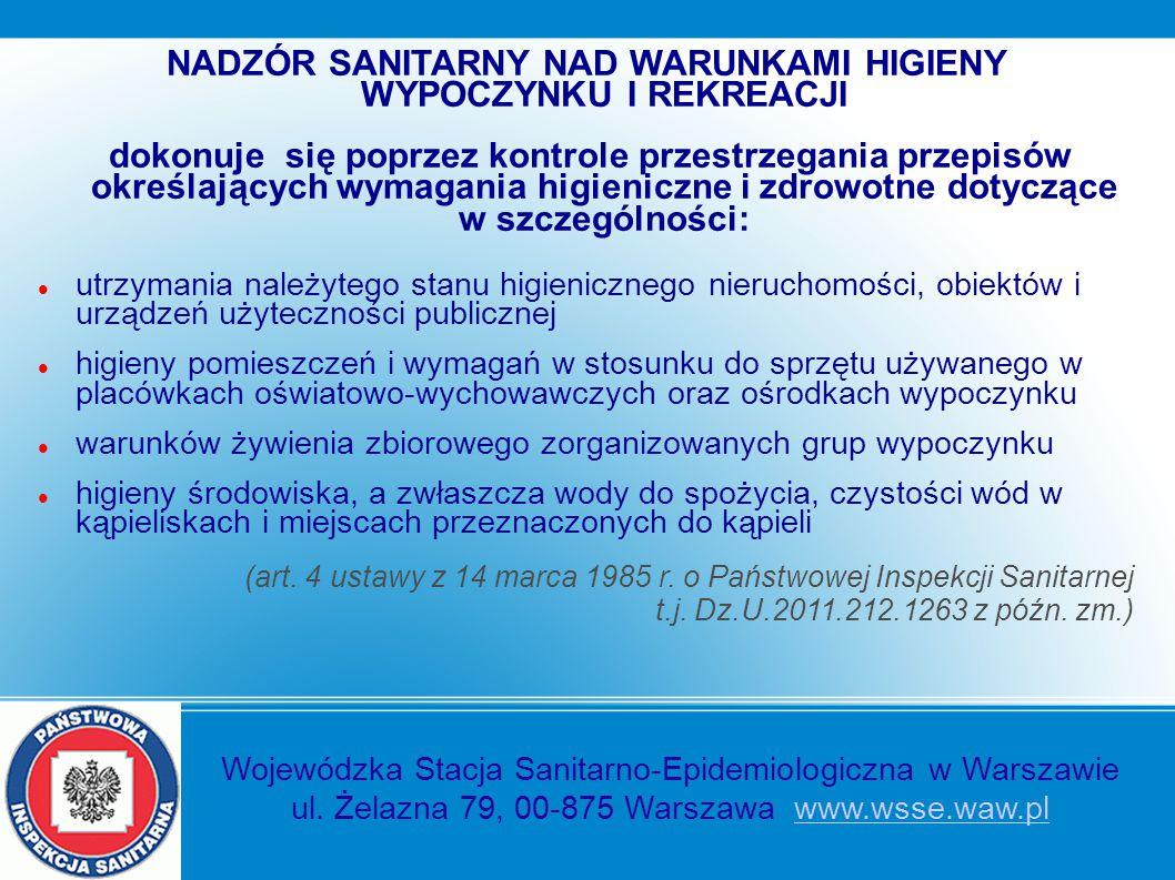 NADZÓR SANITARNY NAD WARUNKAMI HIGIENY WYPOCZYNKU I REKREACJI dokonuje się poprzez kontrole przestrzegania przepisów określających wymagania higienicz