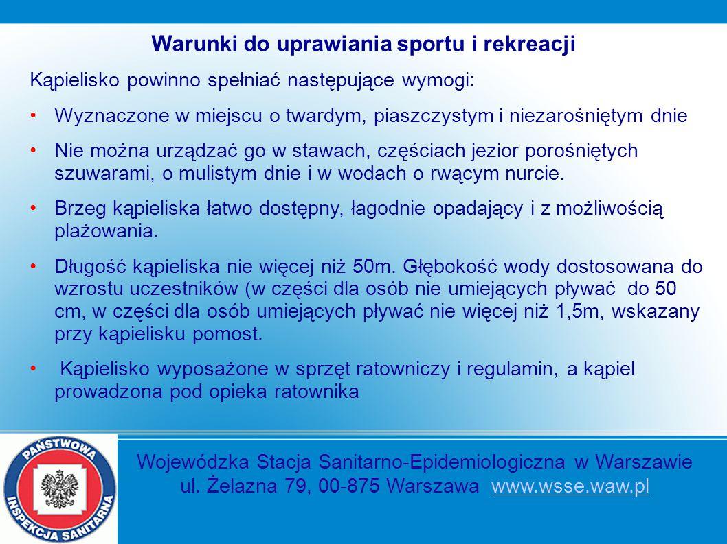 Warunki do uprawiania sportu i rekreacji Kąpielisko powinno spełniać następujące wymogi: Wyznaczone w miejscu o twardym, piaszczystym i niezarośniętym