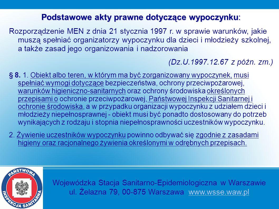 Podstawowe akty prawne dotyczące wypoczynku: Rozporządzenie MEN z dnia 21 stycznia 1997 r. w sprawie warunków, jakie muszą spełniać organizatorzy wypo