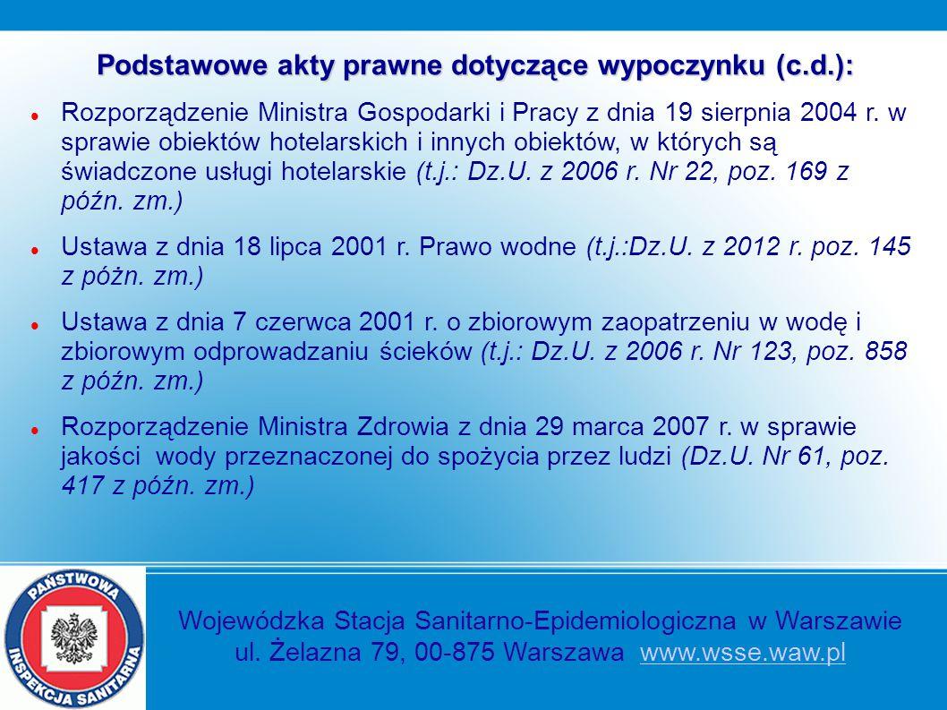 Podstawowe akty prawne dotyczące wypoczynku (c.d.): Rozporządzenie Ministra Gospodarki i Pracy z dnia 19 sierpnia 2004 r. w sprawie obiektów hotelarsk