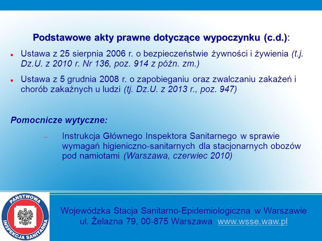 Podstawowe akty prawne dotyczące wypoczynku (c.d.): Ustawa z 25 sierpnia 2006 r. o bezpieczeństwie żywności i żywienia (t.j. Dz.U. z 2010 r. Nr 136, p