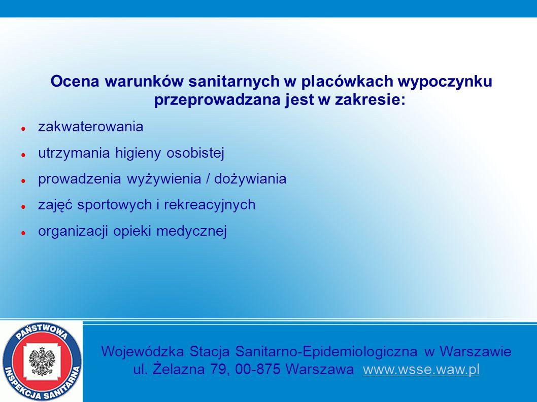 Ocena warunków sanitarnych w placówkach wypoczynku przeprowadzana jest w zakresie: zakwaterowania utrzymania higieny osobistej prowadzenia wyżywienia