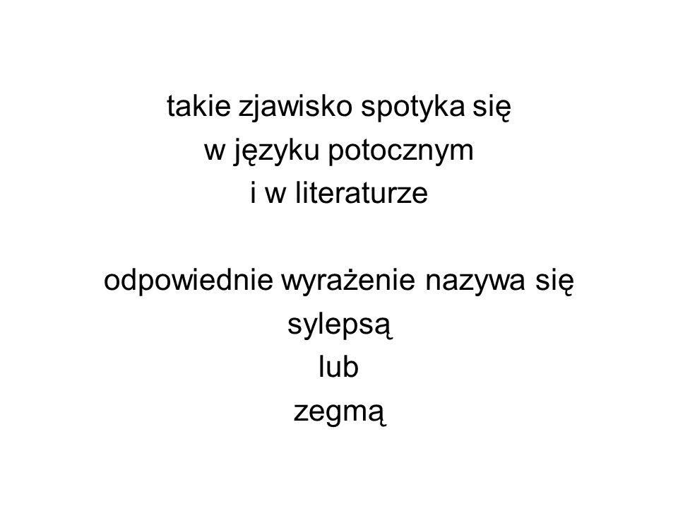 takie zjawisko spotyka się w języku potocznym i w literaturze odpowiednie wyrażenie nazywa się sylepsą lub zegmą